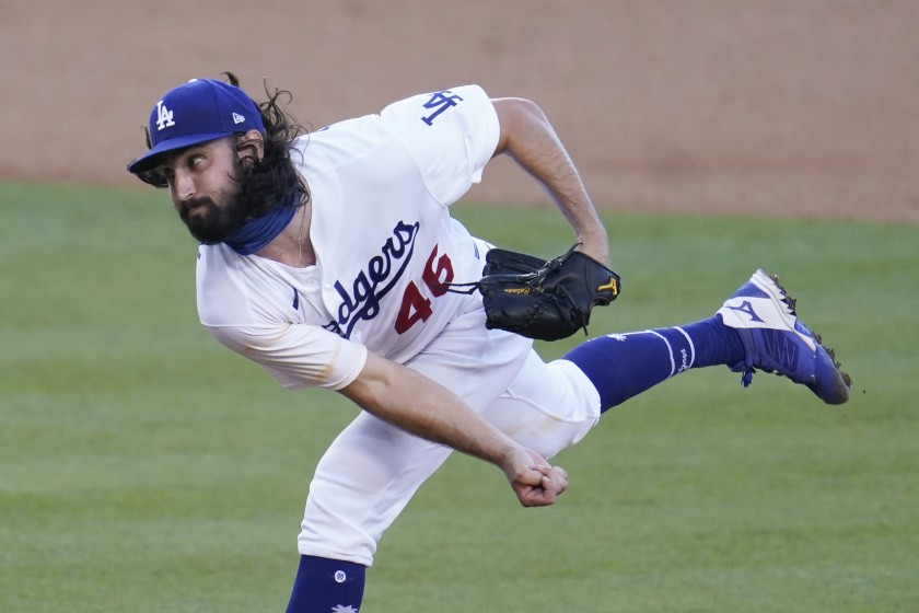 Dodgers pitcher Tony Gonsolin throws to the San Diego Padres during the first inning.