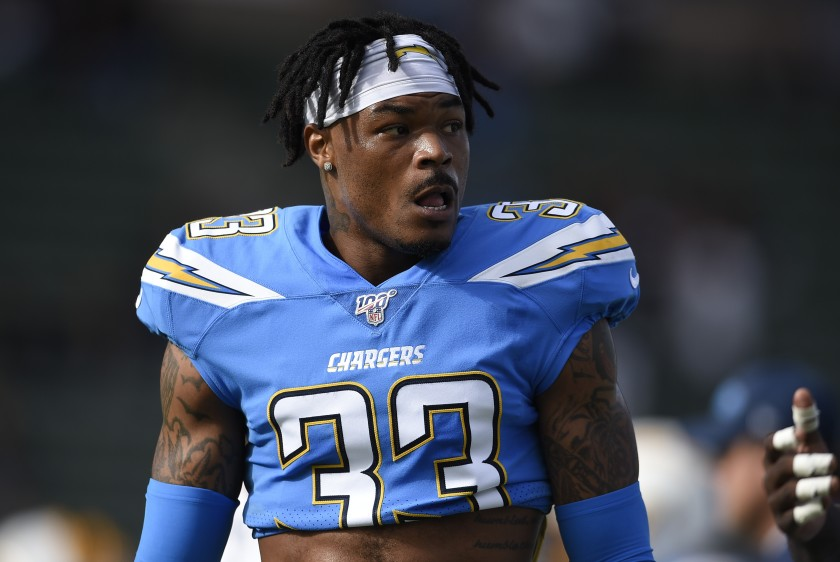 Chargers free safety Derwin James watches during warm ups before a game against the Oakland Raiders in December.