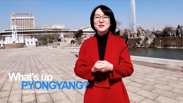 "A woman named Un A leads viewers on a tour of the North Korean capital Pyongyang in a recent YouTube video. ""Every building in Pyongyang is going through general cleaning to shake off winter dust,"" she says in English."