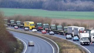 A line of lorries seen near the Port of Dover