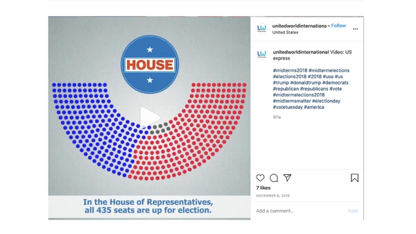 A screenshot of an Instagram post Facebook linked to Russia