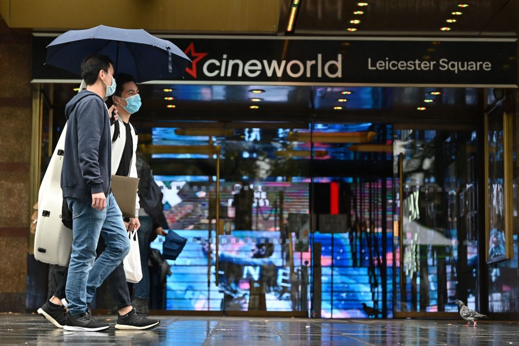 Cineworld front in Leicester Square, London