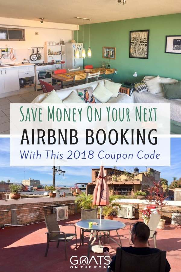 Travel accommodation with text overlay Save Money On Your Next Airbnb Booking