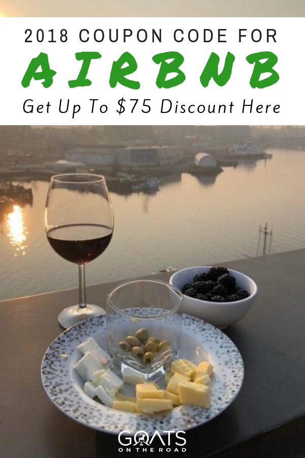 Sunset view with cheese and wine and text overlay $75 Airbnb Discount