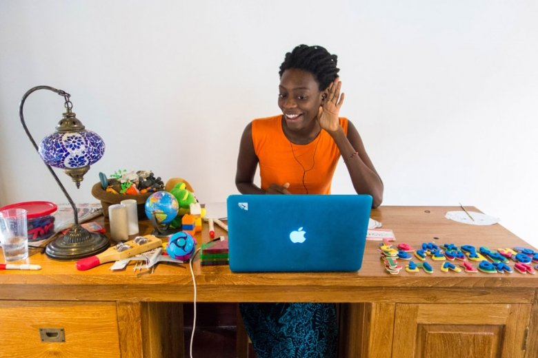 woman teaching english from home without a degree