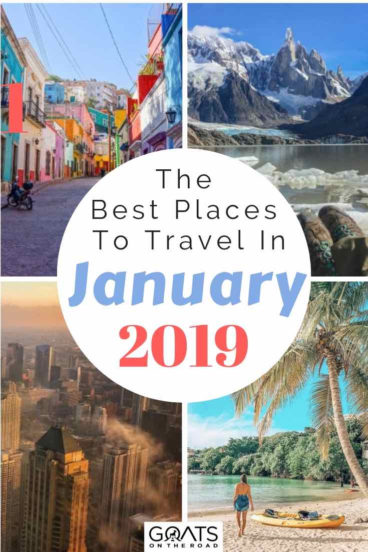 various destinations to visit in 2019 with text overlay