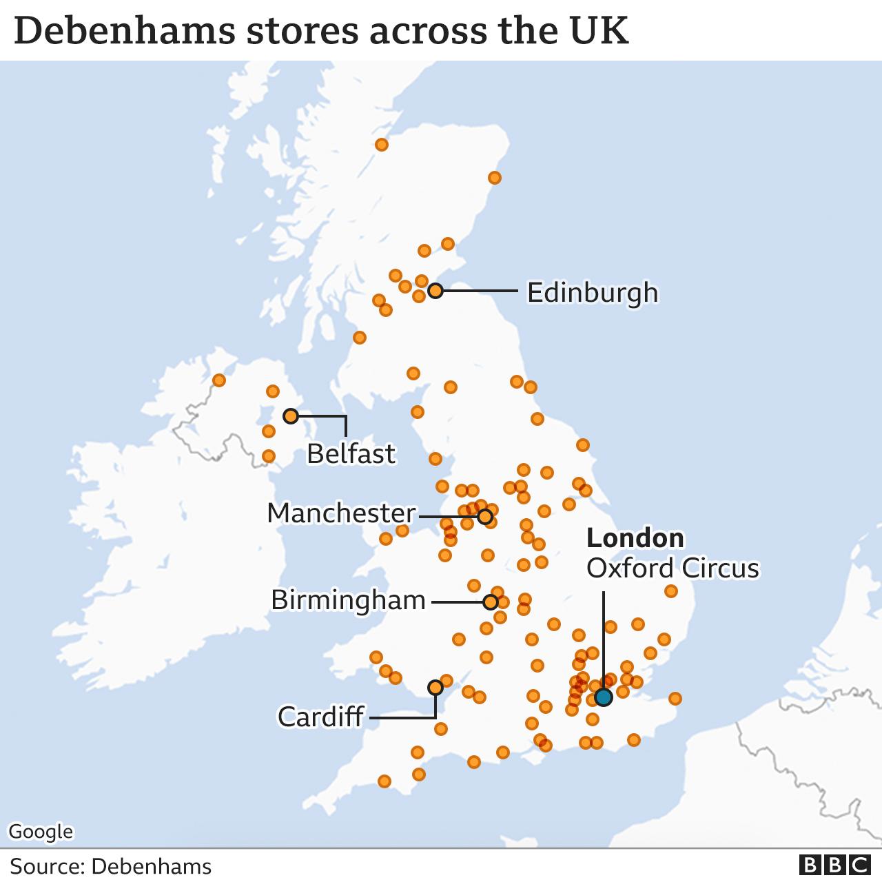 Debenhams stores map
