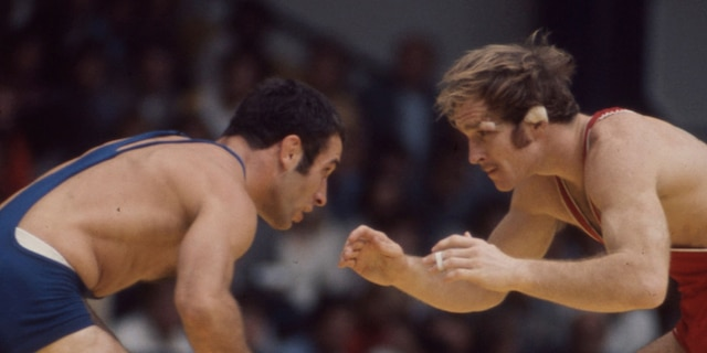 Ruslan Ashuraliyev, left, and Dan Gable compete in the Men's freestyle 68 kg wrestling event at the 1972 Summer Olympics / the Games of the XX Olympiad, Messegelände. (Photo by Walt Disney Television via Getty Images)