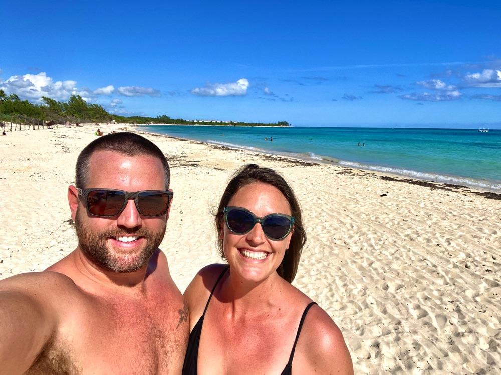 us at the beach in playa del carmen
