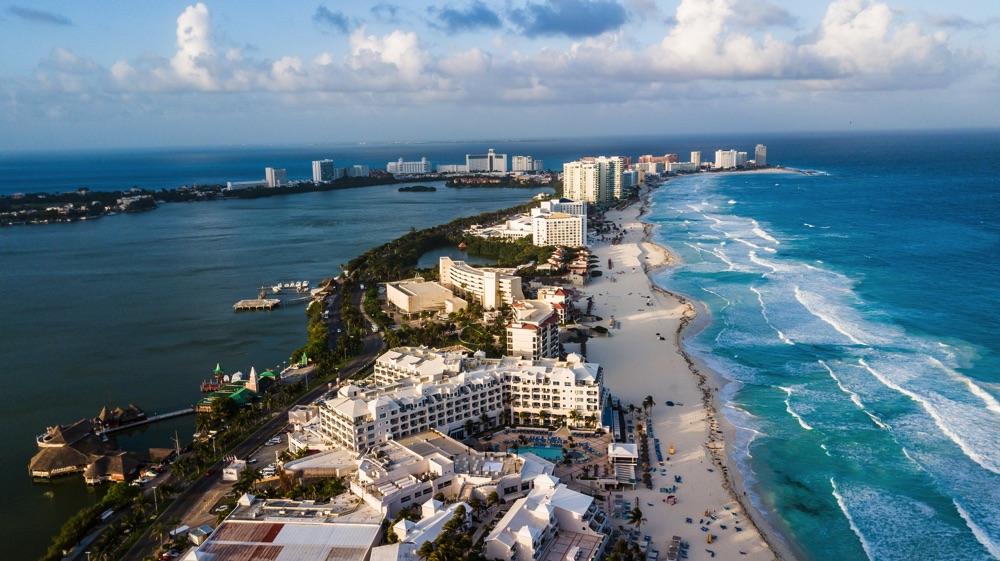 walk the cancun hotel zone drone photo