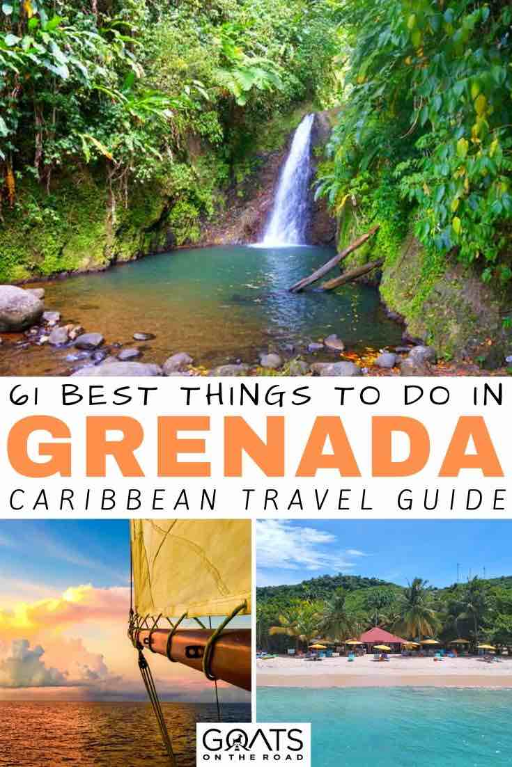 grenada waterfall with text overlay 61 best things to do