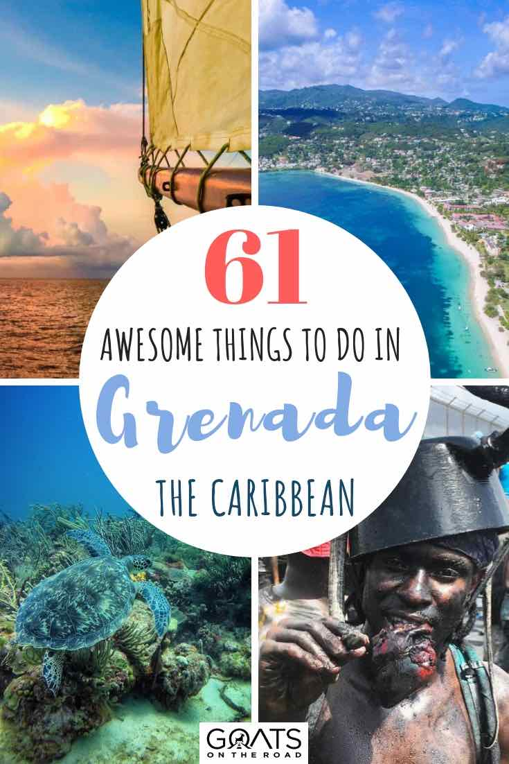 Diving, carnival and sailing in Grenada with text overlay
