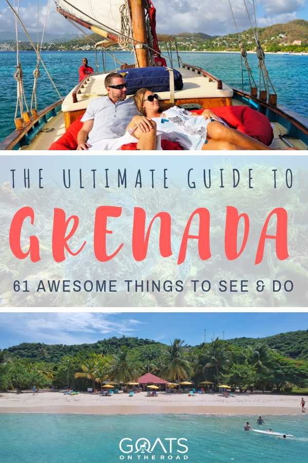 sailing and beach in grenada with text overlay