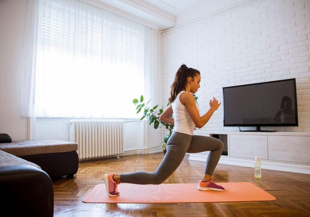 exercising from home while working as a freelancer