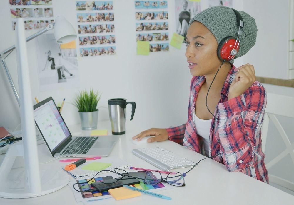 headphones while working