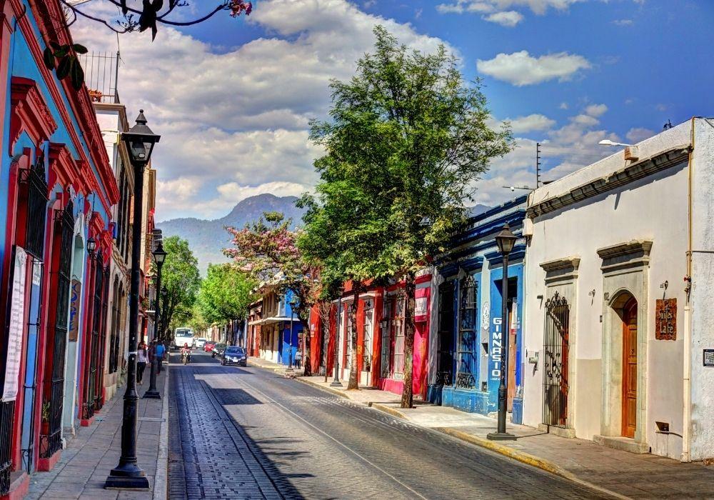 colourful neighbourhood in oaxaca mexico