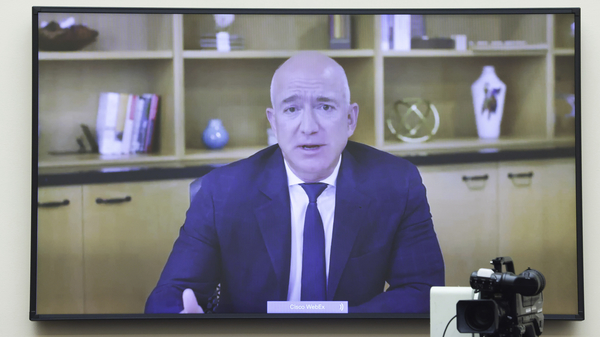 Amazon CEO Jeff Bezos speaks via video conference during a House Judiciary subcommittee hearing on antitrust on Capitol Hill on July 29.