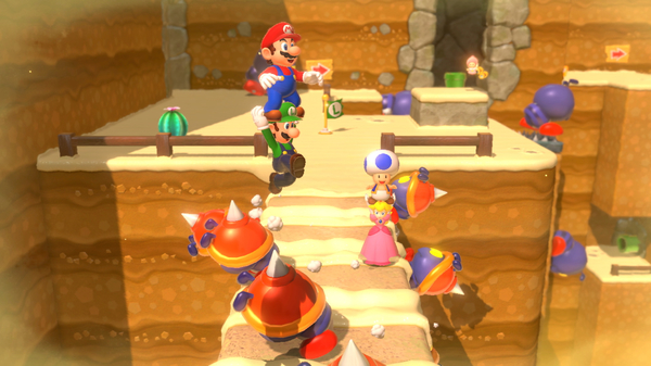 Super Mario 3D World allows online multiplayer in a beautifully designed environment.