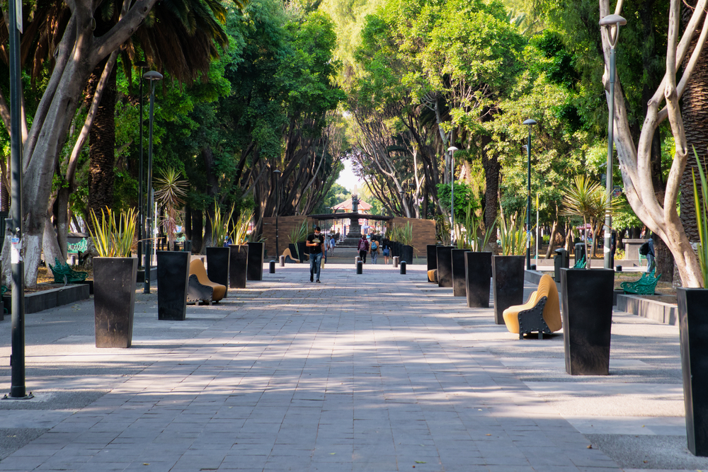 Urban,Park,Paseo,Bravo,In,Puebla,With,Very,Few,People