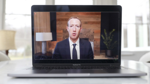 Mark Zuckerberg, chief executive officer of Facebook Inc., speaks virtually during a House Energy and Commerce Subcommittees hearing.