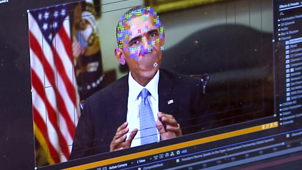 """A fake video featuring former President Obama shows elements of facial mapping used in new """"deepfake"""" technology that lets anyone make videos of real people appearing to say things they"""