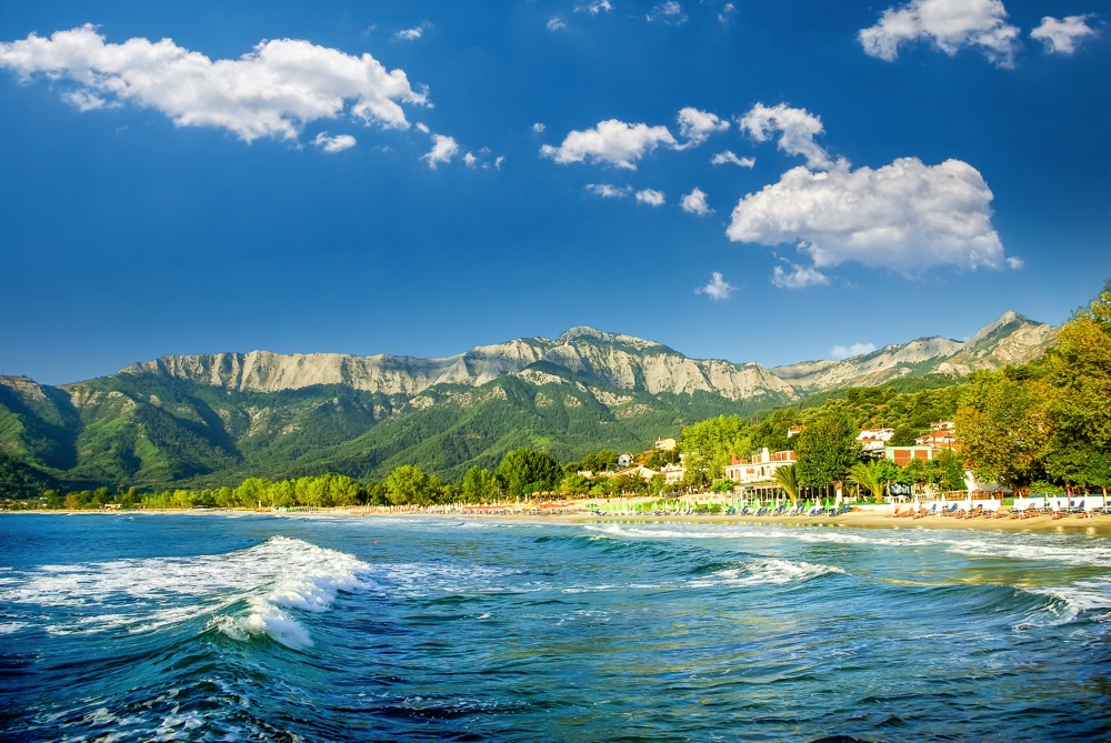 thassos island greece with beach and mountains