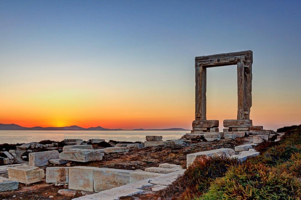 naxos greece at sunset