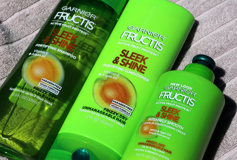 Garnier Fructis Sleek & Shine shampoo, conditioner and leave-in cream
