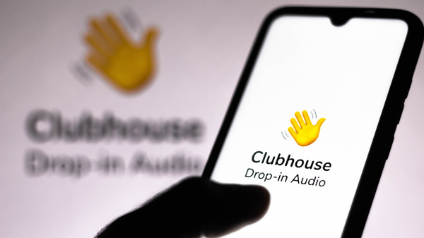 In this photo illustration, the Clubhouse logo is displayed on a smartphone screen. Most Iranians don