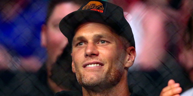 Tampa Bay Buccaneers quarterback Tom Brady watches a UFC 261 mixed martial arts bout, Saturday, April 24, 2021, in Jacksonville, Fla. (Associated Press)