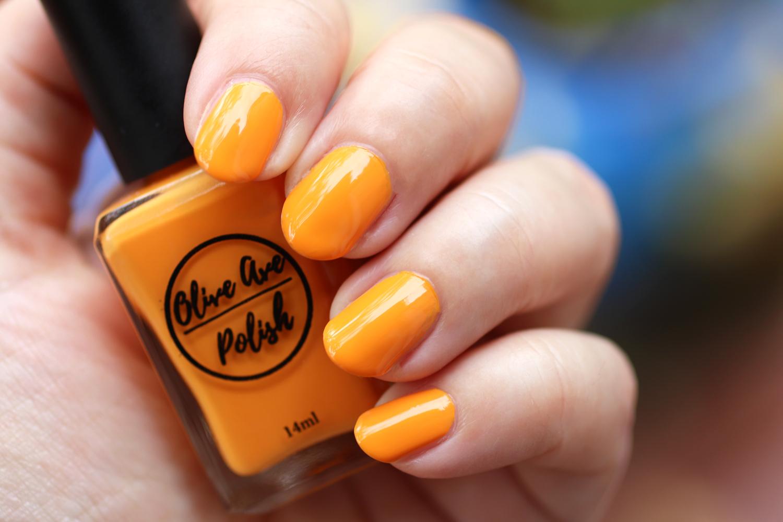 Tang bright orange nail polish by Olive Ave