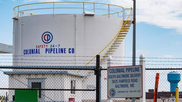 Fuel tanks are seen at a Colonial Pipeline delivery point in Baltimore, Md., on Monday. The company