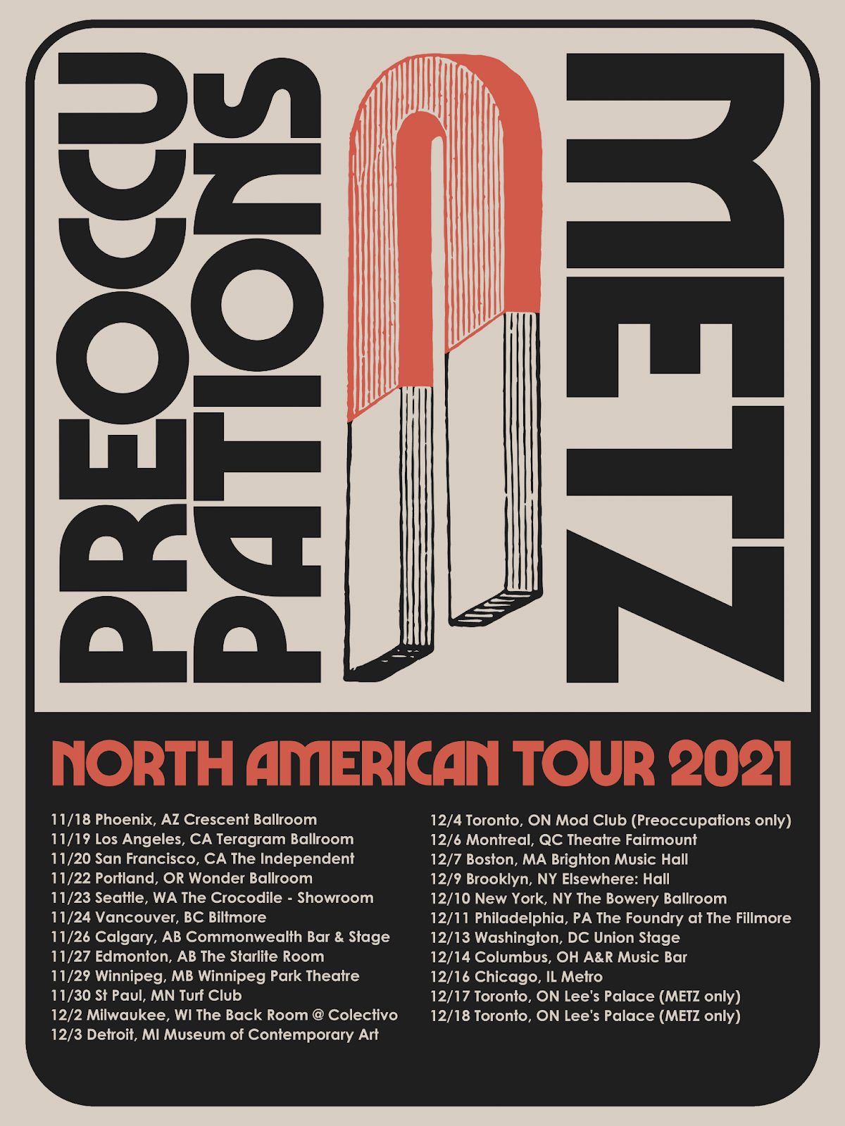 Preoccupations + Metz: North American Tour 2021