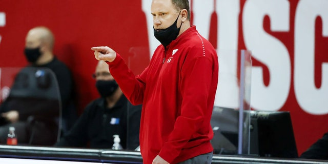 Head coach Greg Gard of the Wisconsin Badgers looks on in the first half against the Iowa Hawkeyes at the Kohl Center on Feb. 18, 2021, in Madison, Wisconsin. (Getty Images)