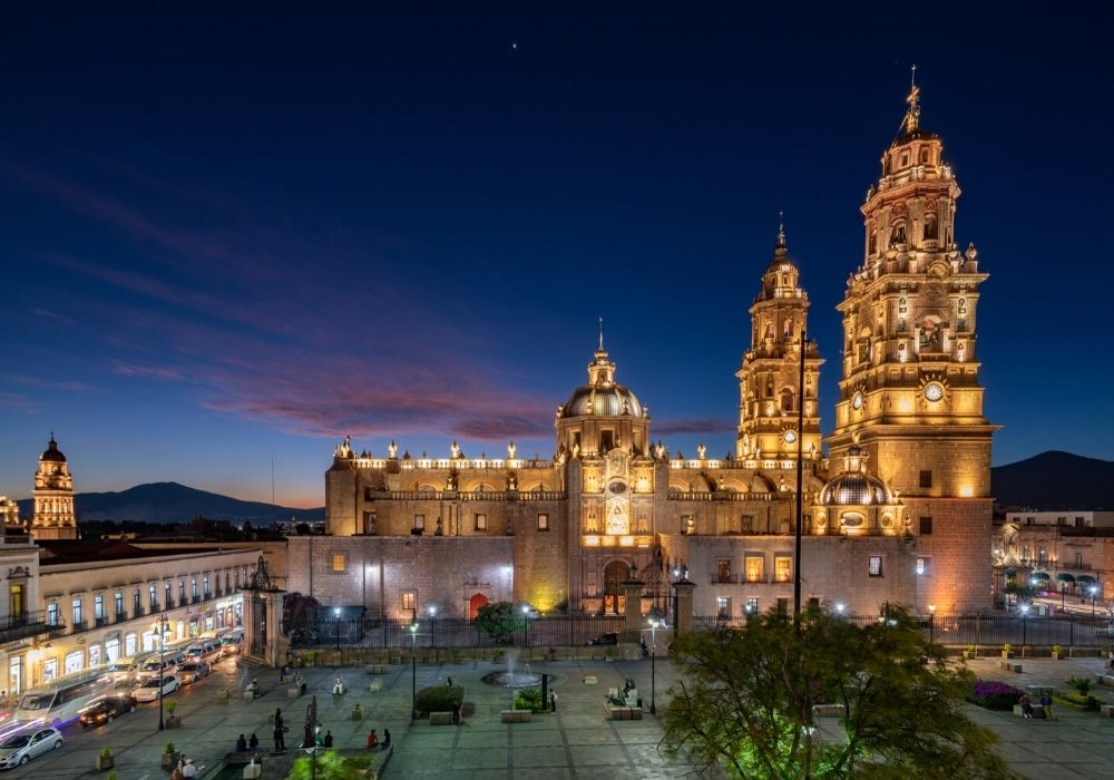 light show at Morelia's Cathedral