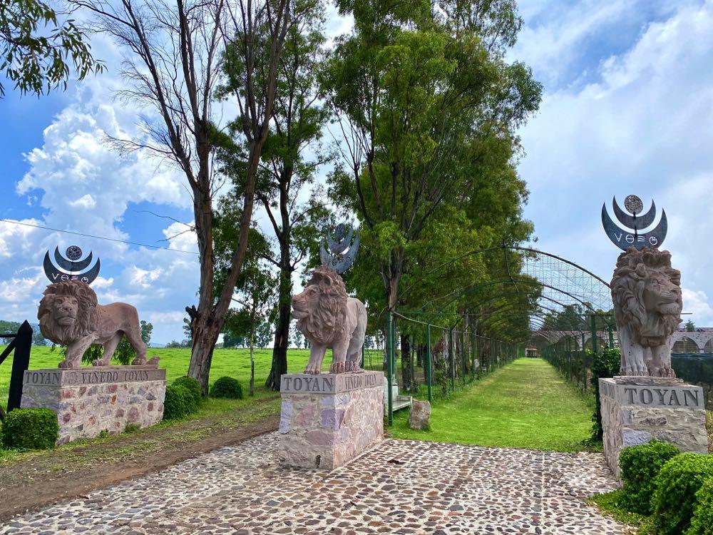 entrance to rancho toyan winery in guanajuato