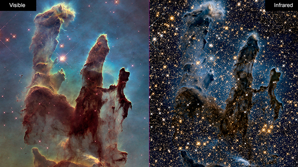 Images of the Eagle Nebula show the Hubble Space Telescope