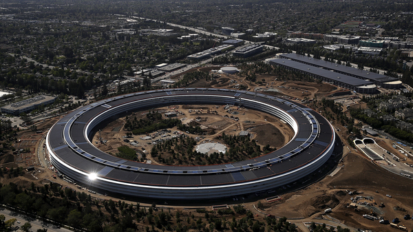 CUPERTINO, CA - APRIL 28: An aerial view of the new Apple headquarters on April 28, 2017 in Cupertino, California. Apple