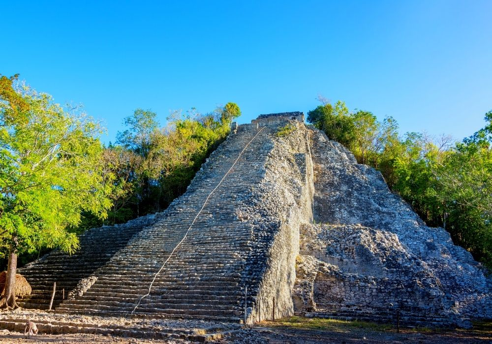 visiting the Coba temples and pyramids
