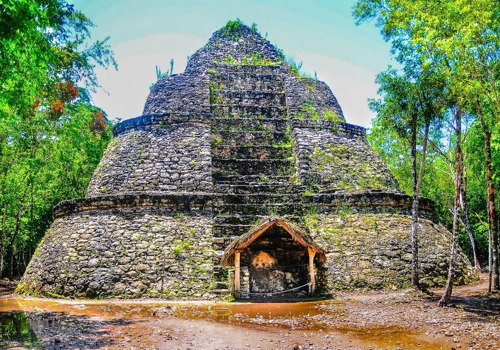 visiting the Coba mayan ruins