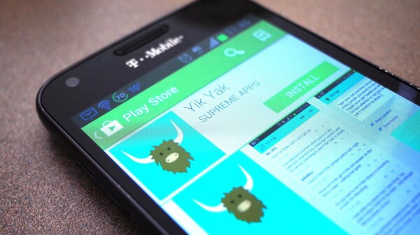 A new version of the Yik Yak app is only available currently in the Apple App Store in the United States. Here