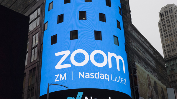 A sign for Zoom Video Communications is pictured ahead of the company