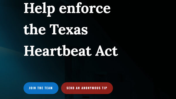 """A screen capture of the website established by Texas Right to Life encouraging members of the public to submit """"anonymous tips"""" about violators of the state"""