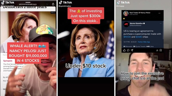 A community of young investors on TikTok, including @ceowatchlist, @quicktrades and @irisapp, are using House Speaker Nancy Pelosi