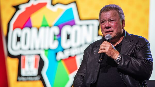 Canadian actor William Shatner, who became a cultural icon for his portrayal of Captain James T. Kirk in the Star Trek franchise, speaks from the stage at the second edition of the multi-genre entertainment comic and fan convention